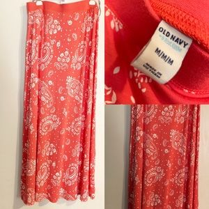 OldNavy orange and white maxi Skirt size M